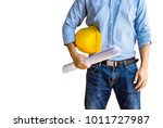architect and yellow hard hat... | Shutterstock . vector #1011727987