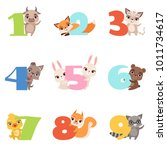 cartoon set with colorful... | Shutterstock .eps vector #1011734617