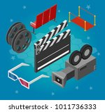 cinema isometric infographic 3d ... | Shutterstock .eps vector #1011736333