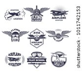 labels at aircrafts theme.... | Shutterstock .eps vector #1011742153