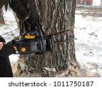 male hands in black gloves hold ... | Shutterstock . vector #1011750187