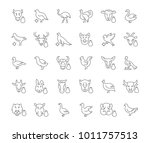 collection of line gray icons... | Shutterstock .eps vector #1011757513