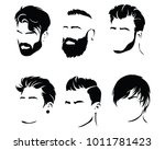 set of hairstyles for men.... | Shutterstock .eps vector #1011781423