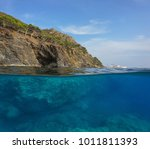 over and under water surface ... | Shutterstock . vector #1011811393