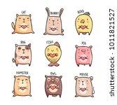 cute pets doodles. set of 9... | Shutterstock .eps vector #1011821527