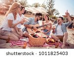 five young cheerful people... | Shutterstock . vector #1011825403