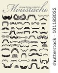 Big Retro Mustache Vintage Collection (Vector) - stock vector