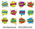 retro colorful comic speech... | Shutterstock .eps vector #1011831163