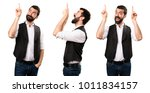 set of cool man pointing up | Shutterstock . vector #1011834157