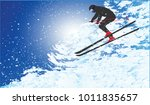 skier descends from the... | Shutterstock .eps vector #1011835657