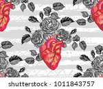 seamless pattern with rose... | Shutterstock .eps vector #1011843757