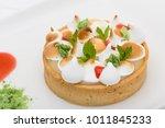 lemon tart with cream decorated ...   Shutterstock . vector #1011845233