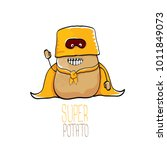 vector funny cartoon cute brown ... | Shutterstock .eps vector #1011849073