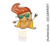 vector funny cartoon cute brown ... | Shutterstock .eps vector #1011849097