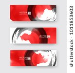banners with abstract black ink ... | Shutterstock .eps vector #1011853603
