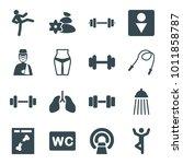 body icons. set of 16 editable... | Shutterstock .eps vector #1011858787