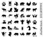 animal icons. set of 36... | Shutterstock .eps vector #1011859993