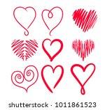 set hand drawn hearts. design... | Shutterstock .eps vector #1011861523