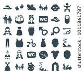 Girl Icons. Set Of 36 Editable...