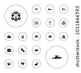 editable vector vacation icons  ... | Shutterstock .eps vector #1011866593