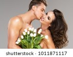happy loving couple with... | Shutterstock . vector #1011871117