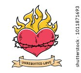 flaming heart tattoo. heart in... | Shutterstock .eps vector #1011871693