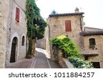 medieval street in the italian...   Shutterstock . vector #1011884257