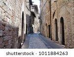 medieval street in the italian...   Shutterstock . vector #1011884263