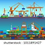 transport cargo sea ships... | Shutterstock .eps vector #1011891427