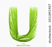 vector letter u of juicy grass... | Shutterstock .eps vector #1011891907