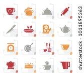 stylized restaurant and kitchen ...   Shutterstock .eps vector #1011895363