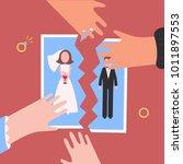 divorcement. man and woman... | Shutterstock .eps vector #1011897553