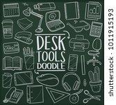 desk tools office work doodle...   Shutterstock .eps vector #1011915193