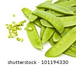 Mange Tout (Snow peas) pods isolated on a white background - stock photo