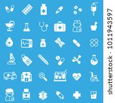 set of medicine icons with blue ... | Shutterstock .eps vector #1011943597
