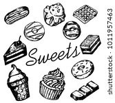 vector set of sketchy sweets on ... | Shutterstock .eps vector #1011957463