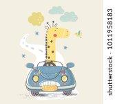 giraffe in car.hand drawn... | Shutterstock .eps vector #1011958183