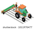 mechanized sowing. tractor with ... | Shutterstock .eps vector #1011970477