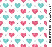 hand drawn hearts pattern ... | Shutterstock .eps vector #1011983017
