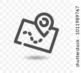 outlined map icon with map pin... | Shutterstock .eps vector #1011989767