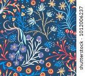 floral seamless pattern. hand... | Shutterstock .eps vector #1012006237