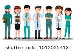 doctor and nurse medical set in ... | Shutterstock .eps vector #1012025413
