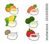 soup set. pumkin broccoli... | Shutterstock .eps vector #1012033033