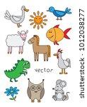 cartoon animals set for... | Shutterstock .eps vector #1012038277