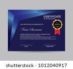 modern certificate vector | Shutterstock .eps vector #1012040917