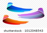 Acrylic paint brush stroke. Vector bright orange, velvet or purple and blue gradient 3d paint brush with vibrant texture on transparent background. Creative concept of digital painted color stroke | Shutterstock vector #1012048543