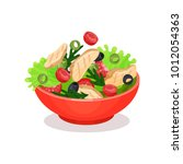 vegetable salad with meat ... | Shutterstock .eps vector #1012054363