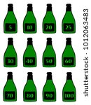 a collection of green bottles... | Shutterstock . vector #1012063483