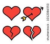 set of red outline broken heart ...