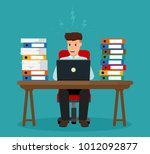 stressed office worker sitting... | Shutterstock .eps vector #1012092877